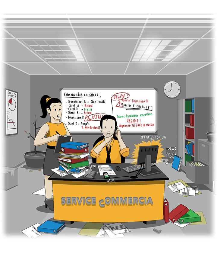 Image montrant un service commercial non organisé.