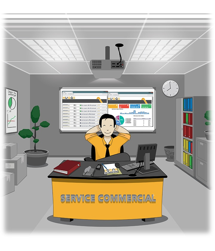 Image présentant un service commercial organisé grâce à la solution HUGGII.