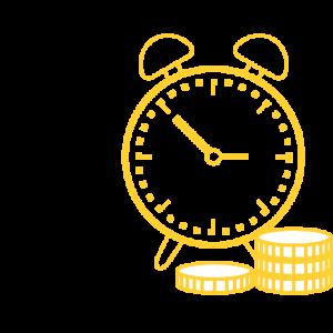 Image présentant une horloge avec des pièces.