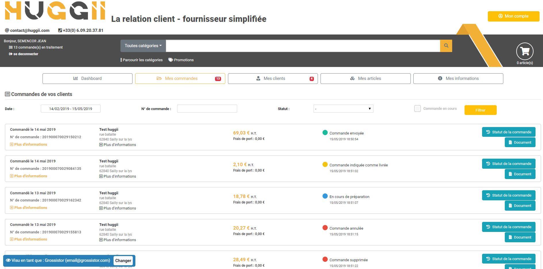 capture d'écran gestion de son activité commerciale