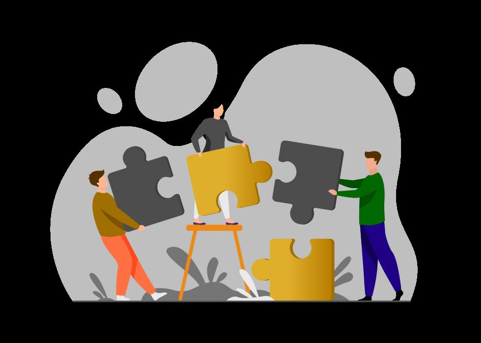 Trois personnes qui assemblent les pièces d'un puzzle