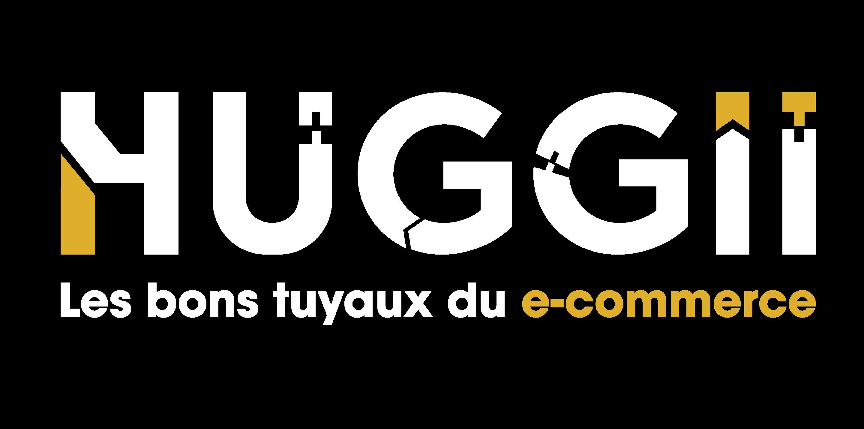 Logo Huggii en blanc et or