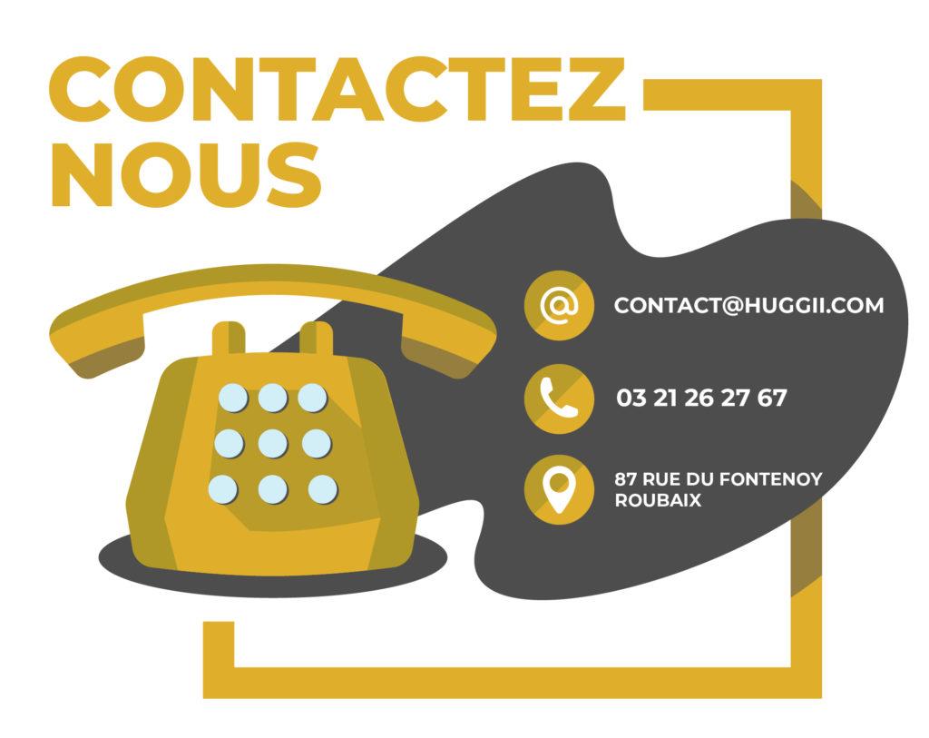 Téléphone avec les informations de contact Huggii