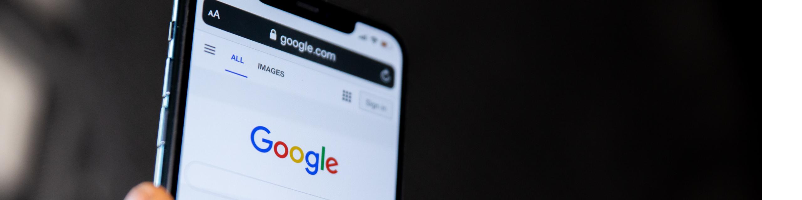 écran téléphone affichant page google